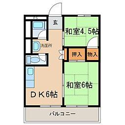 第一千代田コーポ[202号室]の間取り