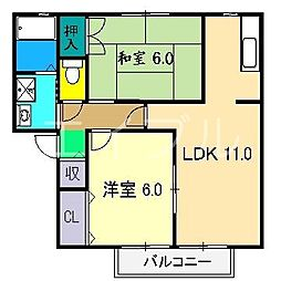 フローラル薊野3[2階]の間取り