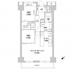 JR山手線 池袋駅 徒歩5分の賃貸マンション 6階2LDKの間取り