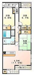 兵庫県神戸市西区井吹台西町4丁目の賃貸マンションの間取り