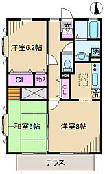 東京都北区神谷1丁目の賃貸アパートの間取り