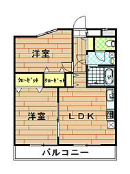 神奈川県横浜市港北区下田町2丁目の賃貸マンションの間取り