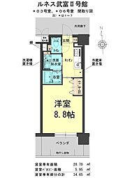 ルネス武富II 1階1Kの間取り