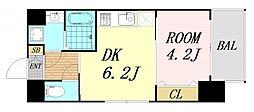 レオンヴァリエ大阪ベイシティ 6階1DKの間取り