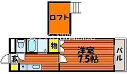 JR瀬戸大橋線 植松駅 徒歩33分の賃貸アパート 2階1Kの間取り