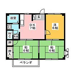 ニューシティ宮地[2階]の間取り
