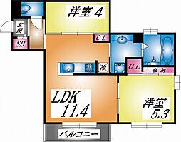 兵庫県神戸市東灘区森南町3丁目の賃貸アパートの間取り