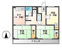 ビレッジハウス各務原 1・2・3・4棟[4階]の間取り