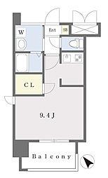 ALFACIO DIFOND 13階ワンルームの間取り