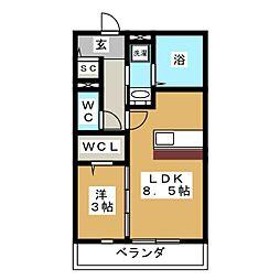 ラシーネ・上杉[1階]の間取り