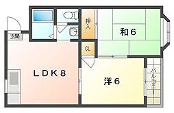 サンファミリー守口II 4階2DKの間取り