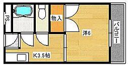 大阪府茨木市南安威2丁目の賃貸マンションの間取り