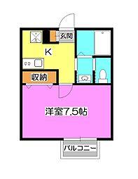 埼玉県狭山市大字南入曽の賃貸アパートの間取り