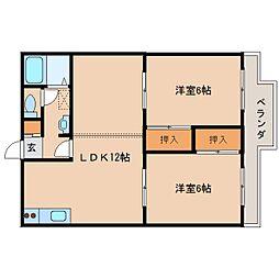 奈良県天理市西長柄町の賃貸アパートの間取り
