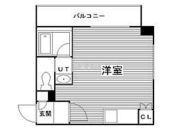 円山シャトー桂和医大前(旧カッシーナ医大前) 5階ワンルームの間取り