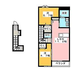 プレステージ 庭瀬[2階]の間取り