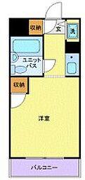 JR南武線 武蔵小杉駅 徒歩12分の賃貸マンション 4階ワンルームの間取り