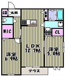 クラヴィーア上野芝[1階]の間取り
