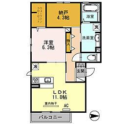 セクレール北本町[B201号室]の間取り