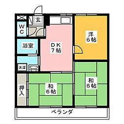 ロイヤルSAKURAI II[4階]の間取り