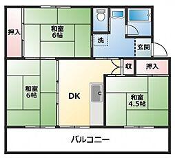 ビレッジハウス直方 1棟[3階]の間取り