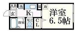JR播但線 野里駅 バス6分 平野西口下車 徒歩1分の賃貸アパート 2階1Kの間取り