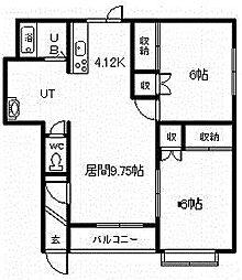テミールA・B棟 1階2LDKの間取り