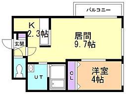 クレストハウス1816 4階1LDKの間取り