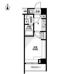 プレール・ドゥーク新宿下落合 3階1Kの間取り