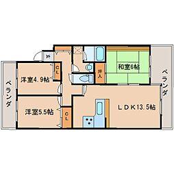 奈良県奈良市富雄元町の賃貸マンションの間取り