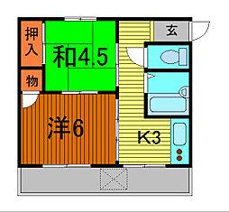 錦町マンション[2-D号室]の間取り