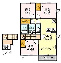 西武池袋線 入間市駅 徒歩20分の賃貸アパート 2階3LDKの間取り