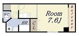 ボンジュール築港 4階1Kの間取り