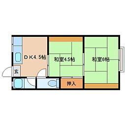 JR桜井線 長柄駅 徒歩18分の賃貸アパート 2階2DKの間取り