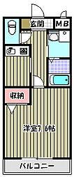 フォンテーヌ上野芝[2階]の間取り