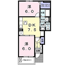 福岡県北九州市八幡西区上上津役5丁目の賃貸アパートの間取り