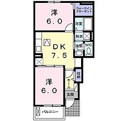 福岡県北九州市八幡西区上上津役5の賃貸アパートの間取り