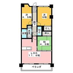 宝マンション八事南[3階]の間取り
