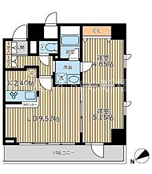 東京都中央区湊3丁目の賃貸マンションの間取り