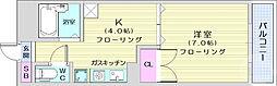 仙台市営南北線 愛宕橋駅 徒歩4分の賃貸マンション 3階1Kの間取り