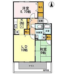 兵庫県揖保郡太子町蓮常寺の賃貸アパートの間取り