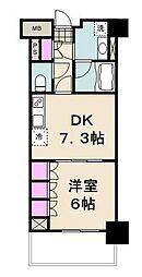 パークアクシス辰巳ステージ 5階1DKの間取り