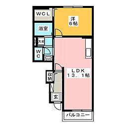 サニーハウスII[1階]の間取り
