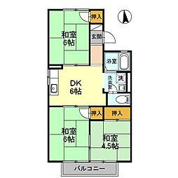大阪府八尾市中田4丁目の賃貸アパートの間取り