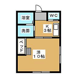 モアハウス磐田 1階1Kの間取り