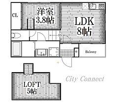 ハーモニーテラス八代II[1階]の間取り