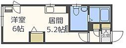 サルーテ円山公園 4階1DKの間取り