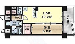 阪急京都本線 上牧駅 徒歩4分の賃貸マンション 2階1LDKの間取り