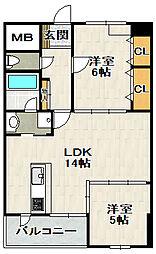 グリーンコートARAMAKI[6階]の間取り