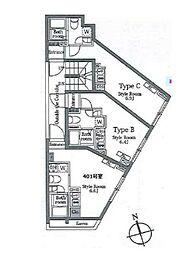 JR山手線 恵比寿駅 徒歩8分の賃貸マンション 4階ワンルームの間取り